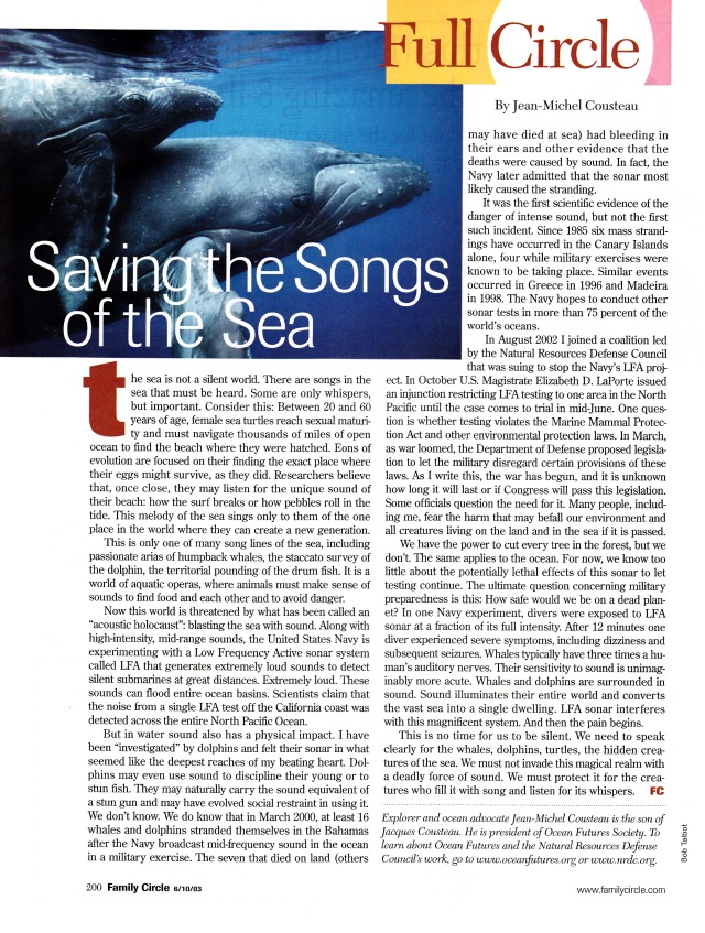 """Saving the Songs of the Sea"" by Jean-Michel Cousteau, Family Circle, June 10, 2003"