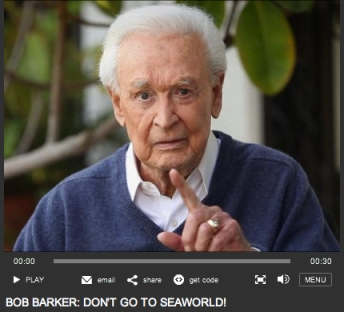 "Bob Barker says ""Don't go to SeaWorld!""/PETA, peta.org"