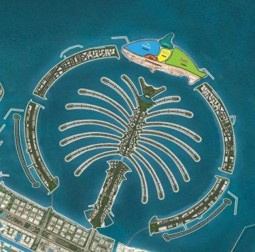 Model of proposed manmade island site for SeaWorld Dubai, undated/Theme Park Preview, themeparkpreview.com