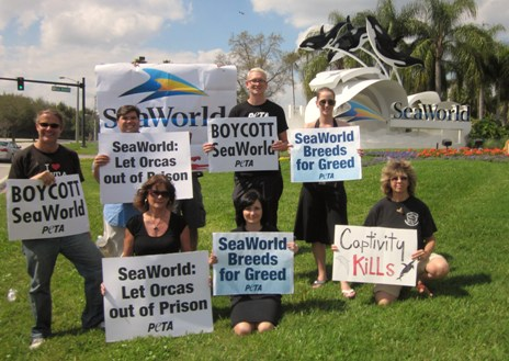 PETA demonstrators at SeaWorld Orlando on one-year anniversary of Dawn Brancheau's death, Feb 24, 2011/PETA, peta.org