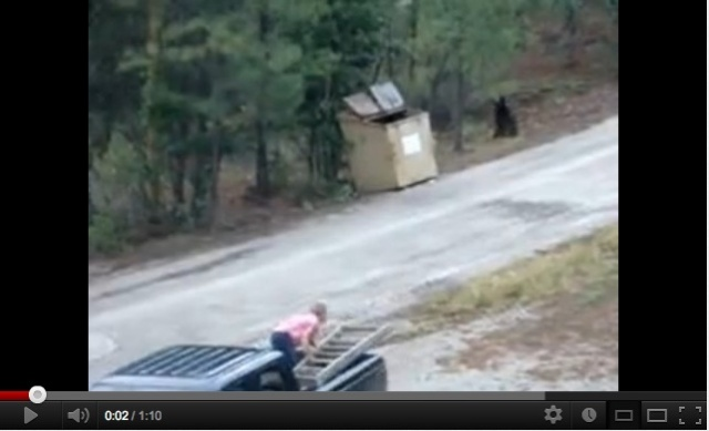Shirley & (driver) Tom Schenk approach black bear near dumpster, Ruidoso, NM, July 2012/PorkFluff, youtube.com