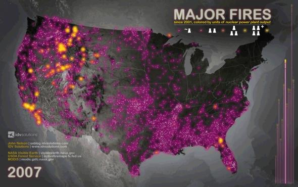 Fires 2007, still from flip-book of Major Fires since 2001/John Nelson, IDV Solutions