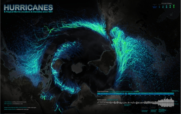 Bottom-up Global Map of All Recorded Hurricanes and Tropical Storms since 1851/John Nelson, IDV Solutions