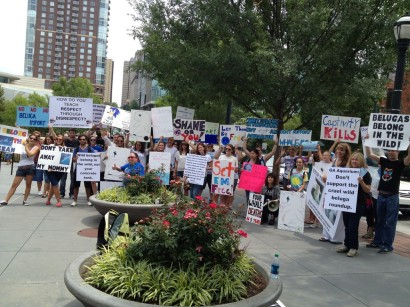 Anti-Beluga Import protest outside Georgia Aquarium, July 21, 2012/VeganESP.com