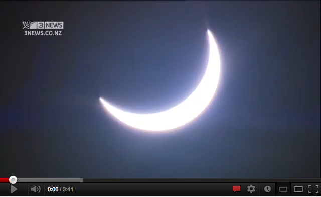 Still image from video of solar eclipse over Queensland, Australia, Nov 13, 2012/3News NZ, youtube.com