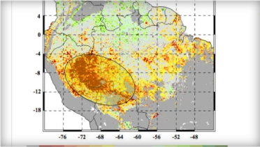 Areas of most severe drought in Amazon rain forest (yellow and brown), June-Aug, 2005/NASA, JPL-CalTech, GSFC, CBSNews.com