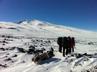 Researchers hauling seismic-GPS equipment to Mount Sidley, Antarctica, undated/Jeremy Miner, NBC News