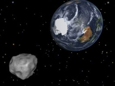Simulation of asteroid heading toward Earth's South Pole/NASA, JPL-Cal Tech, USA Today