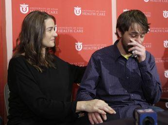 Elisabeth Malloy & Adam Morrey recount her close call with death by avalanche, U of Utah, Jan 16, 2013/Rick Bowmer, AP, Yahoo News