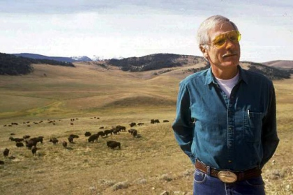 Ted Turner with bison at his Flying D Ranch, 1991/Linda Best, AP, Los Angeles Times