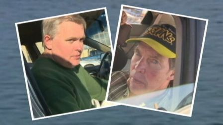 George Reynolds and Fred Schaeffer after rescue from 14 hours at sea in Salem Sound, Oct 19, 2013/ABC News