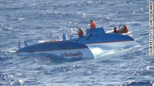 Capsized catamaran Queequeg, off Madagascar, Jan 2009/U.S. Coast Guard, CNN