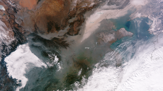 Extreme air pollution over China, Jan 13, 2013/NASA, NOAA