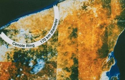 Radar image of Yucatan crater/NASA, CNET