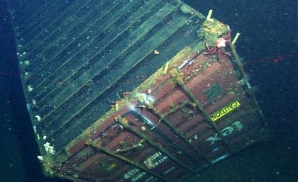 40-foot-long container lost from cargo ship Med Taipei on Feb 26, 2004, photographed approximately 4,200 feet down in Monterey Bay National Marine Sanctuary, CA, December 2013/NOAA, MBARI, National Geographic