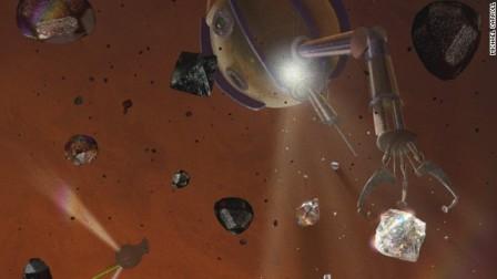 Illustration of robot mining diamonds on Saturn/Michael Carroll, CNN