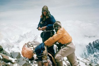 Sir Edmond Hillary & Tensing Norgay ascending Everest, 1953/Alfred Gregory, ABC News Australia
