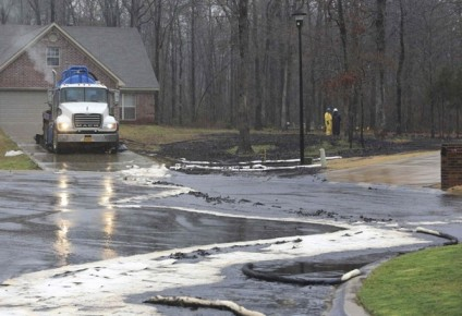 Underground crude oil pipeline rupture, Mayflower, AR, March 30, 2013/Rick McFarland, Arkansas Democrat-Gazette, Reuters, Washington Post