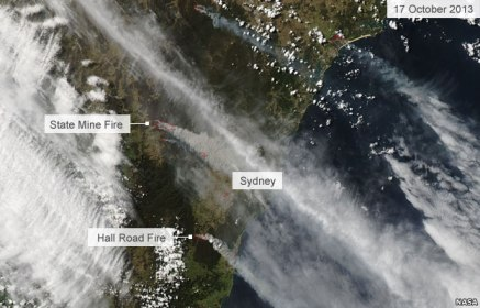 Brush fires near Sydney, Australia, Oct 17, 2013/NASA, BBC News