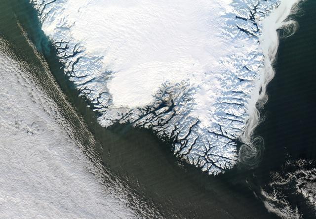 Ice swirls off southeast coast of Greenland, Dec 30, 2012/NASA Aqua Satellite Image, Jeff Schmaltz, LANCE MODIS, Rapid Response, Slate.com