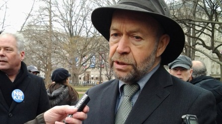 NASA scientist James Hansen speaks to the press prior to arrest for protesting, Feb 13, 2013/Alice Ollstein, Free Speech Radio News, Fox News