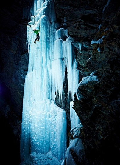 Alex Luger climbs icefall in Avers Valley, Switzerland, winter 2012-13/Ray Demski, Wired.com