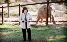 Lily Tomlin & unidentified elephant, location & date unspecified/Lisa Jeffries, pawsweborg, HBO, AP