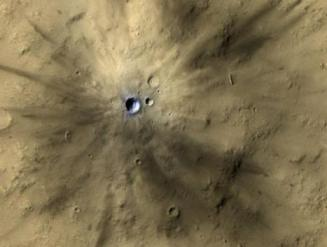 Fresh crater from meteor impact on Mars, undated/NASA, JPL-Caltech, MSSS, UA, UPI