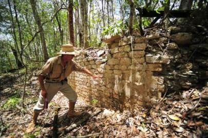 Member of Mexico's National Institute of Anthropology and History (INAH) at Chactun, ancient Maya city just discovered in Yucatan peninsula, May 31, 2013/IINAH, Reuters, Mercury News