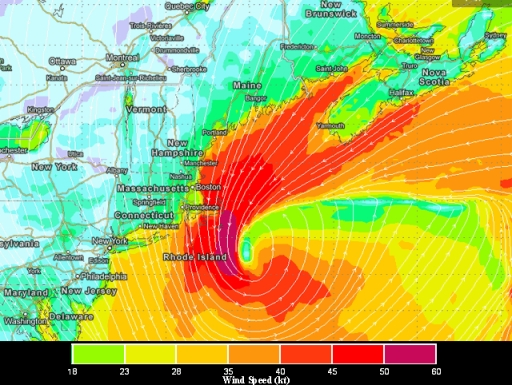 Map of predicted wind speeds for 7 a.m., Saturday, February 9, 2013/ECMWF, Dr. Jeff Master's Wunderblog, wunderground.com