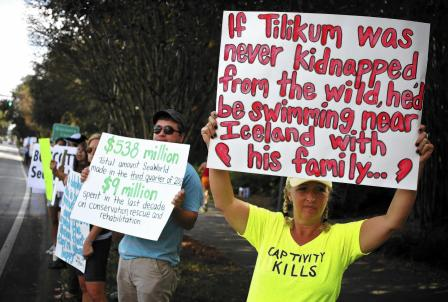Karen Pallone of Tampa and other protesters outside SeaWorld Orlando, Dec 22, 2013/Jacob Langston, Orlando Sentinel