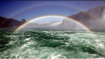 Double rainbow, Niagara Falls, Oct 8, 2006/Don Emmert, AFP, Getty, Wunderground.com