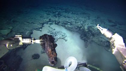 Manned research submersible with rock sample from seafloor near Brazil, undated/CPRM, National Geographic