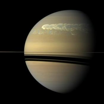 Cassini orbiter image of giant storm circling entire planet of Saturn, head of storm (thick white streak) overlapping tail (fainter streak below), Feb 2011/NASA, JPL-Caltech, SSI, Scientific American