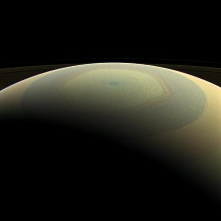 Saturn's northern polar region in natural color with hexagonal jet stream visible in yellow, July 22, 2013/Cassini Orbiter, NASA, PL-Caltech, Space Science Institute
