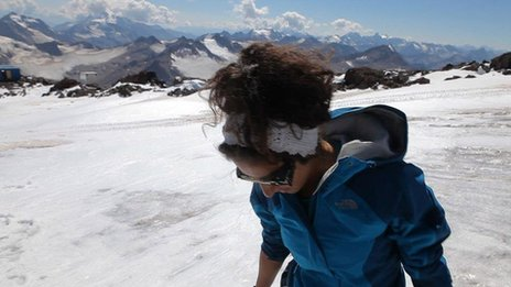 Raha Moharrak on Everest, undated/BBC News