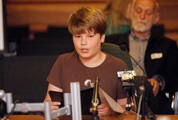 Isaac Scott, 12, addresses Select Committee, New Zealand Parliament, Dec 12, 2013/Kent Blechynden, Fairfax NZ News