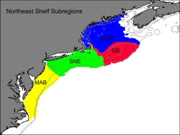 Regions of Northeast Shelf Large Marine Ecosystem, South to North: MId-Atlantic Bight (MAB), Southern New England (SNE), Georges Bank (GB), Gulf of Maine (GOM)/NOAA, Northeast Fisheries Science Center