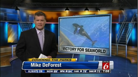 Mike DeForest, WKMG Local 6, reports on ruling in SeaWorld's favor, August 12, 2013/ClickOrlando WKMG Local 6
