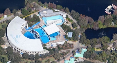 SeaWorld Orlando orca pools (left) and lakes, undated/Google map