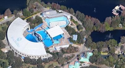 SeaWorld Orlando orca pools (left) and lakes, undated/Google map