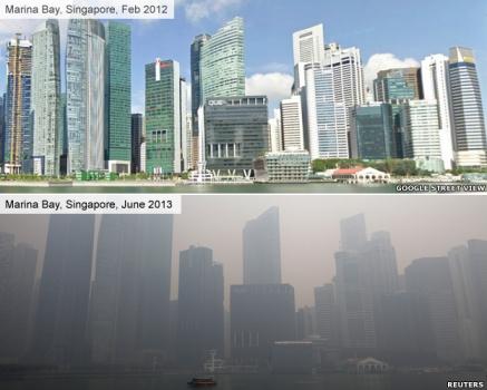 Marina Bay, Singapore, February 2012 (top) and June 2013 (bottom)/Google Streetview (top), Reuters (bottom), BBC News
