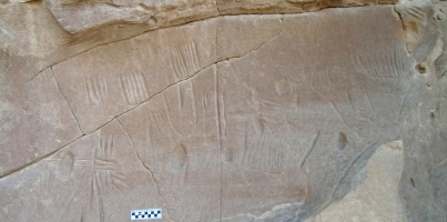 Broken panel bearing spider rock art, estimated to date to 4,000 B.C., North Kharga Oasis, Egypt/Photo by Salima Ikram, North Kharga Oasis Survey, cropped by Owen Jarus, LiveScience.com