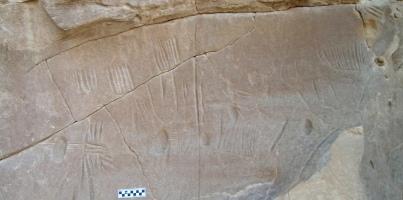 Broken panel bearing spider rock art, estimated to date to 4,000 B.C., North Kharga Oasis, Egypt/Photo by Salima Ikram, North Kharga Oasis Survey, cropped by Owen Jarus, LiveScience.com