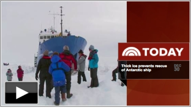 Passengers and crew near trapped research vessel Akedemic Shokalskiy, Antarctica/still from video report, Today.com
