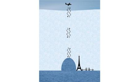 Illustration of survey plane measuring depth and height of channel under Flichner-Ronne Ice Shelf/Anne Le Brocq, Popular Science