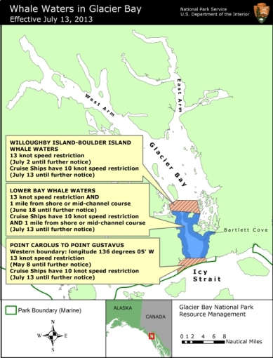 Glacier Bay National Park & Preserve's updated Whale Waters map, July 12, 2013/National Park Service