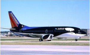 Southwest Airline's Shamu One / Southwest Airlines Co., Dallas News / Click image to learn more