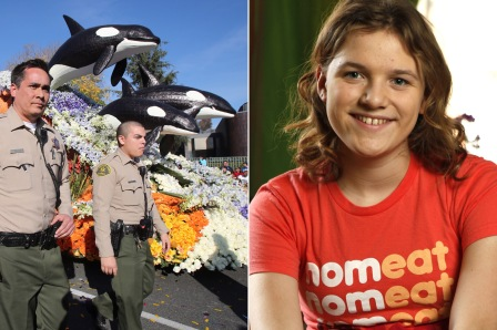 Law enforcement guards SeaWorld float during Rose Parade, Pasadena CA , Jan 1, 2014; Rose McCoy, 12, protested the float at the parade / New York Post