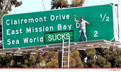 Steve-O standing by altered SeaWorld Freeway Sign, undated/YouTube, TMZ.com